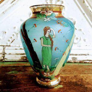 Vintage Art Nouveau Fritz Heckert Czech Glass Vase
